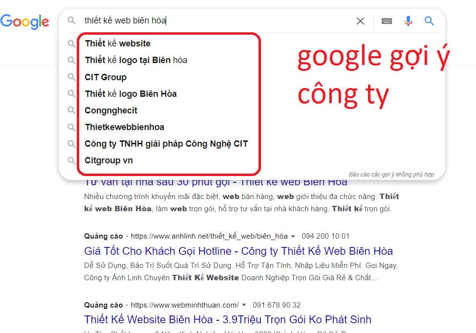 Google gợi ý tên công ty