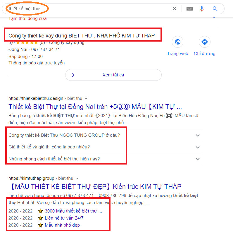 Google hiển thị đặc biệt