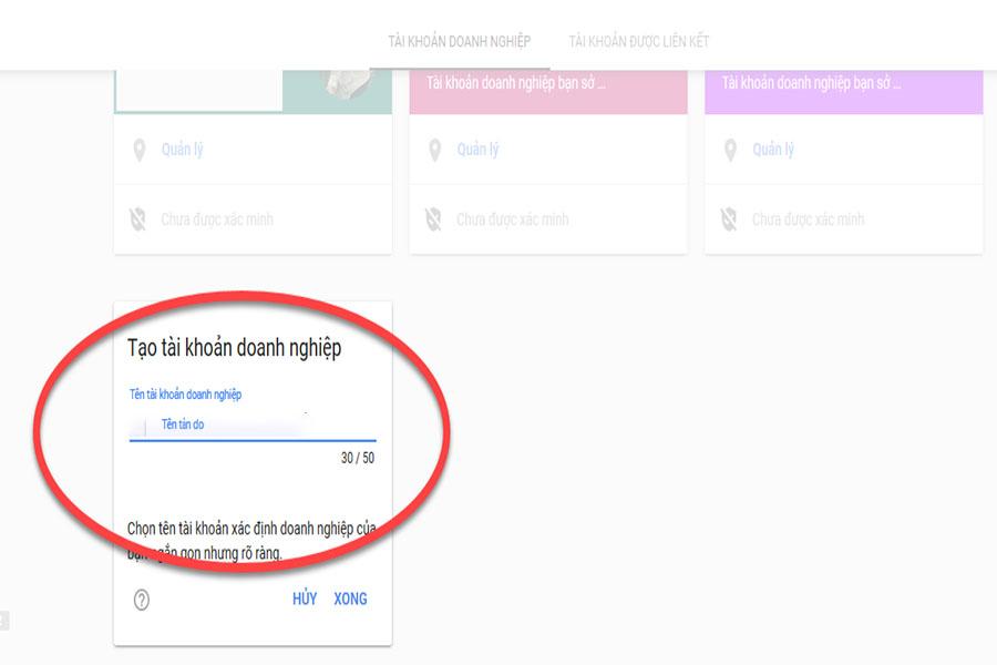 khai báo google map doanh nghiệp