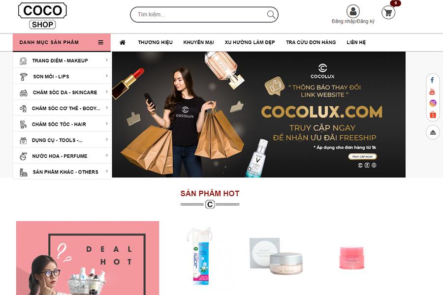 Website Coco Shop - thiên đường mỹ phẩm