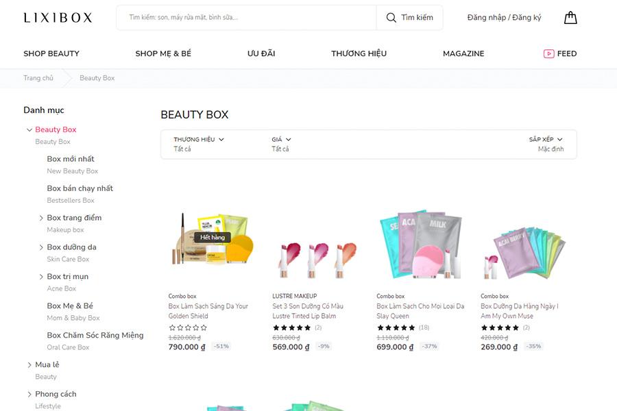 Website Lixibox.vn - cung cấp mỹ phẩm Hàn Quốc giá rẻ